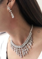 AAA Cubic Zircon Cz Leaf Women Necklace Earring Set Wedding Accessories Party Jewelry