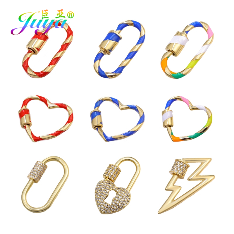 Juya DIY Personalized Jewelry Making Supplies Hanging Pendant Spiral Fastener Screw Clasp Accessories For Punk Jewelry Making