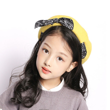 Cute Berets Hats For Kids Winter Autumn Painter style Hat Wool Big Bow Candy Color Caps Girl Boys Bonnet Warm Walking Cap