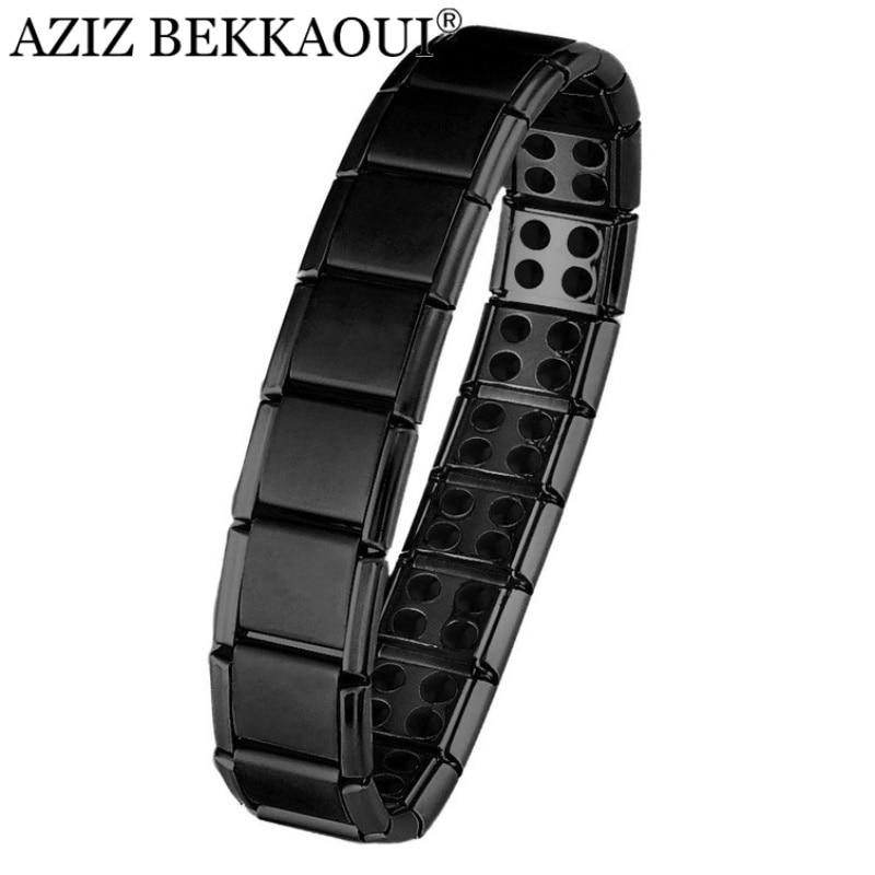 AZIZ BEKKAOUI Stainless Steel Black Bracelet Germanium Magnetic Chain Link Bracelet For Men Health Care Energy Snoring Bracelet