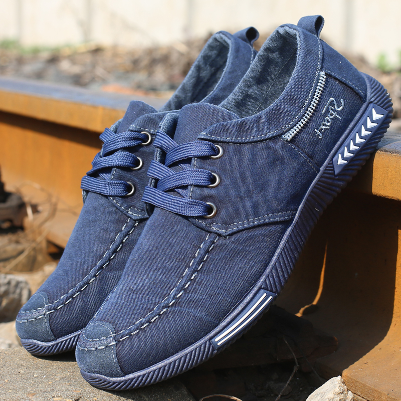 Men's Casual Shoes Fashion Spring Summer Comfortable Denim Canvas Shoes Retro Black Driving Moccasin Men Soft Footwear