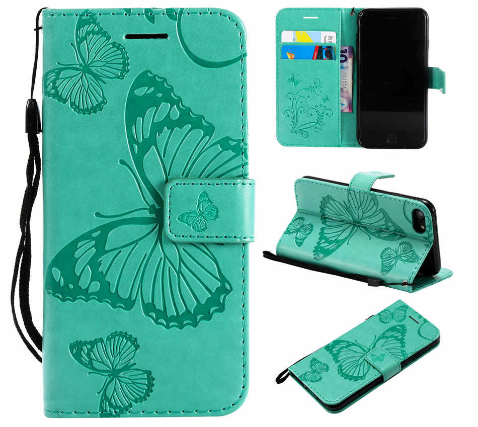 Leuke Lederen Vlinder Gevallen Voor Capa Apple Iphone 12 11 Pro Se 2020 5 5S 6 6S 7 8 Plus Xr X Xs Max Stand Flip Covers DP06F
