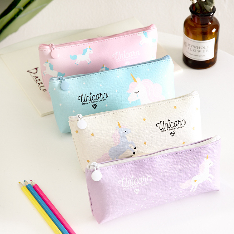 Freedom Unicorn Pencil Bag Stationery Storage Organizer Pencil Case School Office Supply Escolar Papelaria