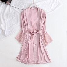 Атласный рукав с кружевом молодой женский халат пижамы v-образный вырез мягкое сексуальное домашнее одевание ночная рубашка Новые летние пижамы интимное нижнее белье