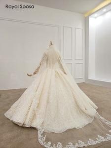 Image 5 - 2020 luxo vestido de noiva de renda cheia sem trem 100% vestido de noiva de trabalho real comprar vestido obter véu livre