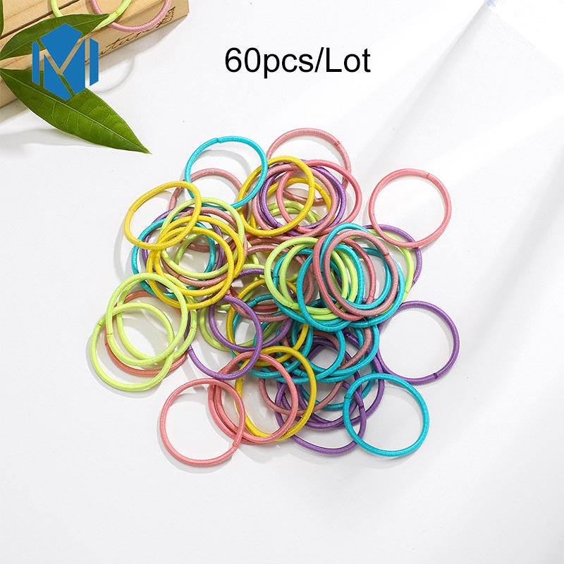 2019 New 60pcs Set Children Basic Rubber Bands Colorful Elastic Hair Bands Toddler Kids Hair Ties Headwear Hair Styling Tools in Hair Accessories from Mother Kids