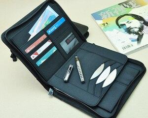 Image 1 - Iş a5 deri evrak çantası kısa durumda portföy tuval A5 dosya klasörü fermuarlı dolum dergisi planlayıcısı dizüstü hediye 783