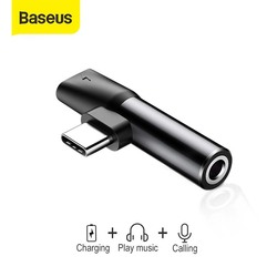Baseus 2 in 1 USB Type C Converter to 3.5mm Aux Jack Adapter USB C Charging Extension Earphone Adapter for Xiaomi 8 forhuawei