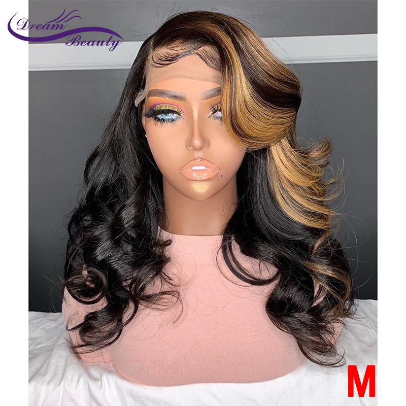 Highlight Ombre Color Pre-Plucked 13*6 Lace Front Wig Remy Hair 180% Brazilian Wavy Human Hair Wigs With Baby Hair Dream Beauty