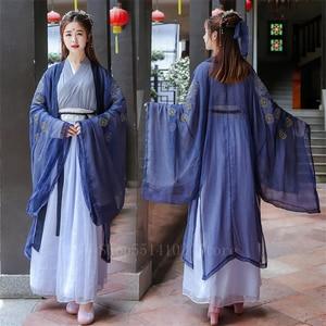 Традиционное китайское платье Hanfu, элегантное сказочное женское платье для сцены, народный танцевальный костюм, ретро старинная вышивка, же...