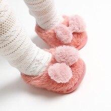 Детская Хлопковая обувь; Сезон Зима; коллекция года; Милая зимняя теплая обувь из флока с бантом для маленьких девочек