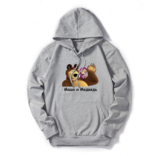 New Women Hoodies Autumn Winter Plus Size Masha and Bear Cartoon Print Long Sleeve Pocket Pullover  Casual Hooded Sweatshirt