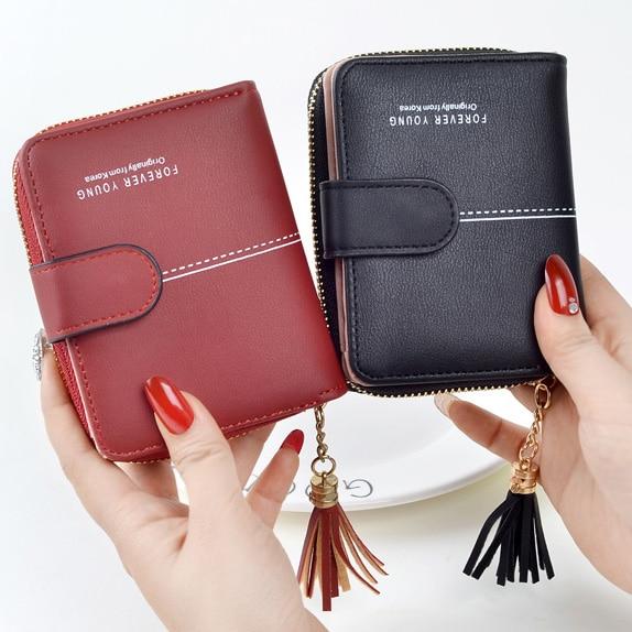 Women Wallets Girls Short Lady Zipper Hasp Coin Purse Tassel Woman Clutch Purses Cards Holder Wallet Billfold Burse Bags Pocket