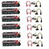 6pcs VER009S Plus PCI-E PCIE Riser 009s 6pin PCI Express Adapter card Molex USB 3.0 Cable 1X 16X Extender