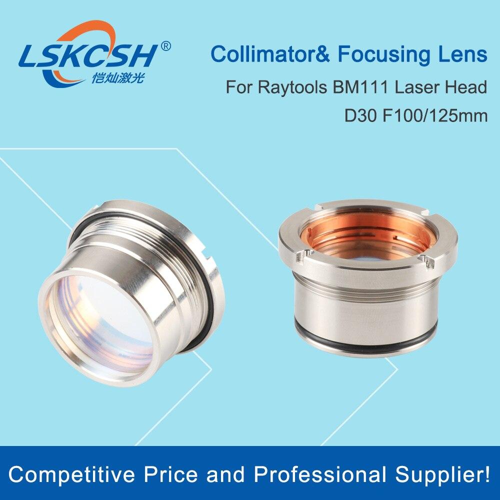 Lskcsh bm111 0-3kw colimating & lente de focagem d30 f100 f125mm com suporte de lente para raytools cabeça de corte a laser bm111
