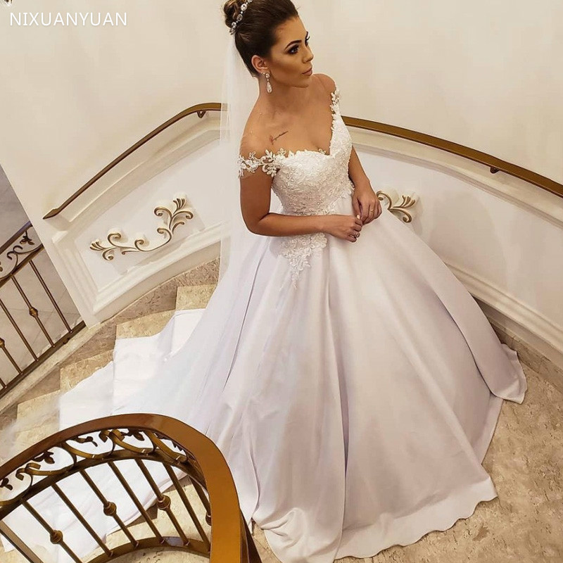 White Satin Lace Appliques Pearls Wedding Dresses Cap Sleeves Ball Gown Bride Dresses Lace Up Back Wedding Gowns