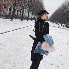 Mishow Mujer Vestidos de punto 2018 invierno mujer suéteres de cuello alto largo sólido casual tejido moda Jersey MX18D5908