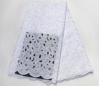 Free shipping (5yards/pc) pure white African cotton lace fabric Swiss lace fabric high quality for wedding party dress