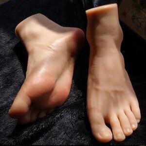 25 см, настоящие мужские ножные манекены для обуви, силиконовая фотография, шелковые чулки, модель ювелирных изделий, мягкий силикагель, 1 шт. ...