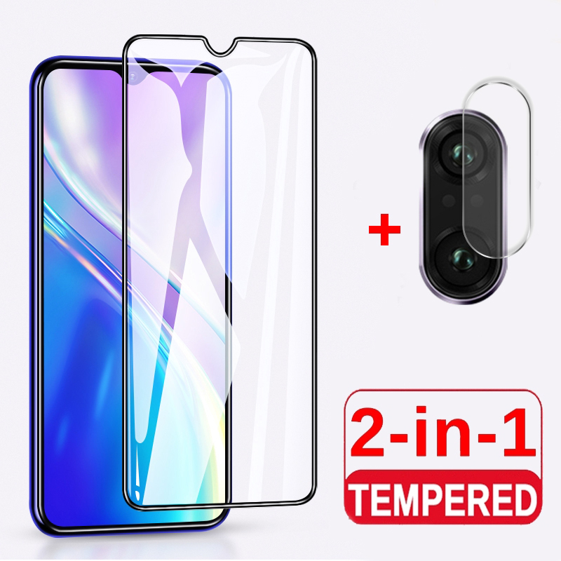 2-In-1 Full Coverage Screen Protector For OPPO Realme C3 Tempered Glass For Realme C3 Camera Lens Protector Glass