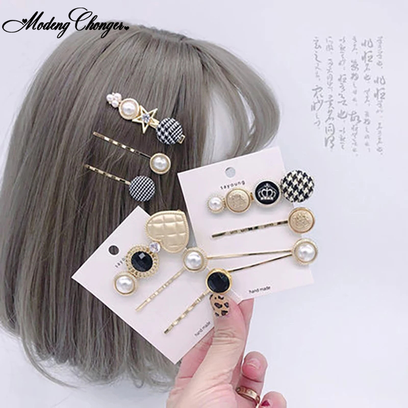 3pcs/set Fashion Set Metal Pearl Bobby Hairpin New Arrival Hairpins Women Girls Hair Clips  Barrettes Hair Accessories Wholesale