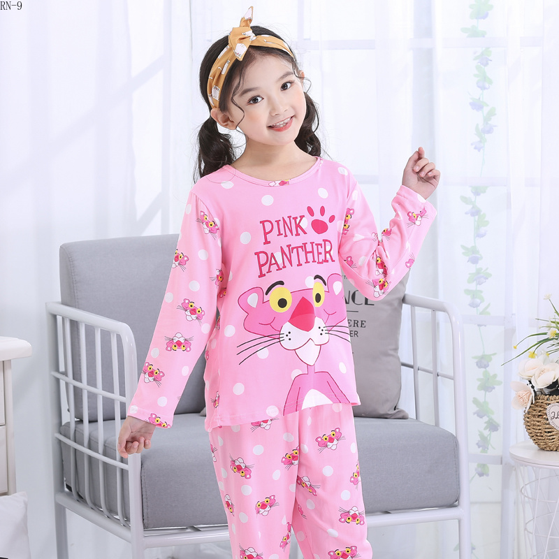 Suit Pajamas-Set Nightwear Girls Sleepwear Long-Sleeve Baby Boys Kids Cartoon for Spring title=