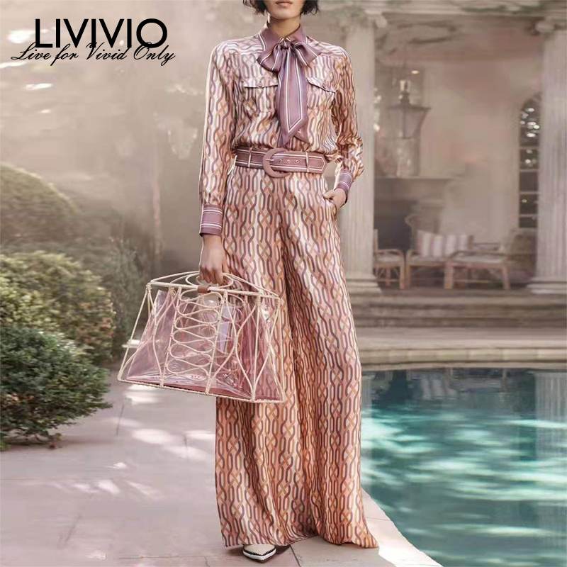 [LIVIVIO] Print Geometric Two Piece Matching Sets Female Long Sleeve Shirt With Belt High Waist Wide Leg Pants Women's Suit 2019