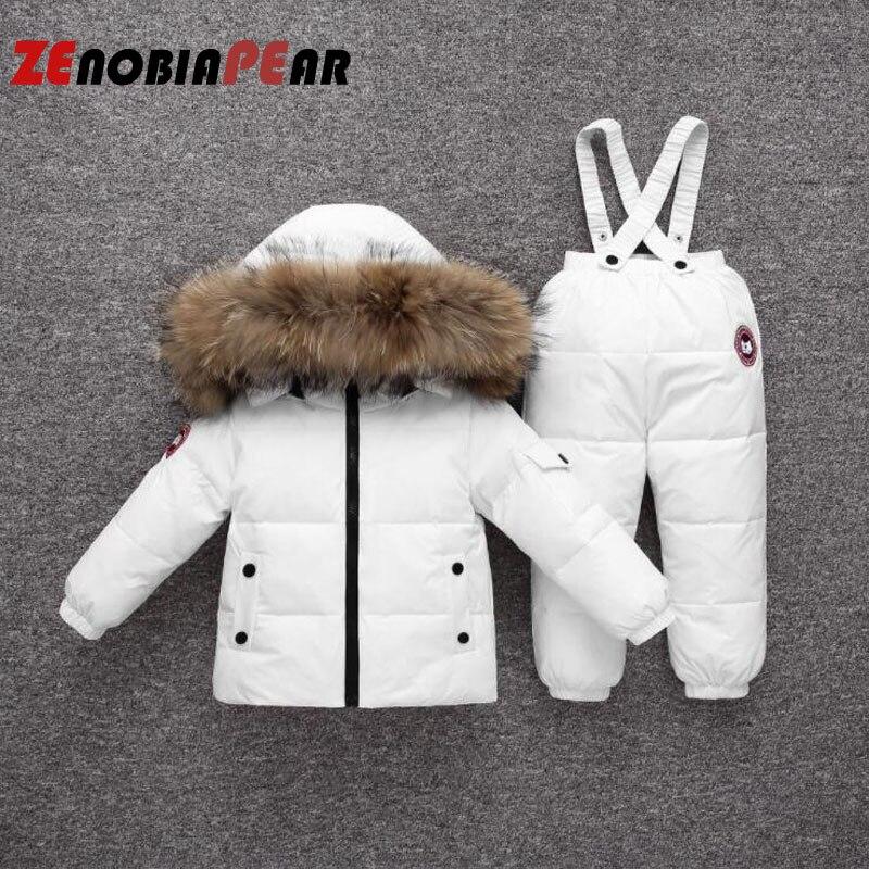 Одежда для мальчиков комплекты одежды для маленьких девочек спортивные костюмы белая пуховая одежда Рождественский осенне зимний лыжный костюм для новорожденных от 6 до 24 месяцев