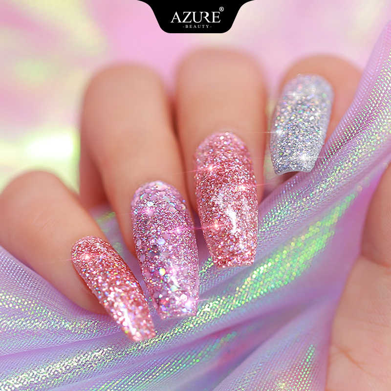 Azure Kecantikan 47 Buah/Banyak Holographic Kerlap-kerlip Mencelupkan Bubuk Kuku Seni Debu Kit Base Top Gel Penggerak Sikat Kuku Tanpa LED lampu