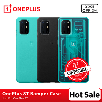 100% Original OnePlus 8T Case Bamper Case Sandstone Karbon Protective Case 3D Tempered Glass Screen Protector For OnePlus 8T 8 T