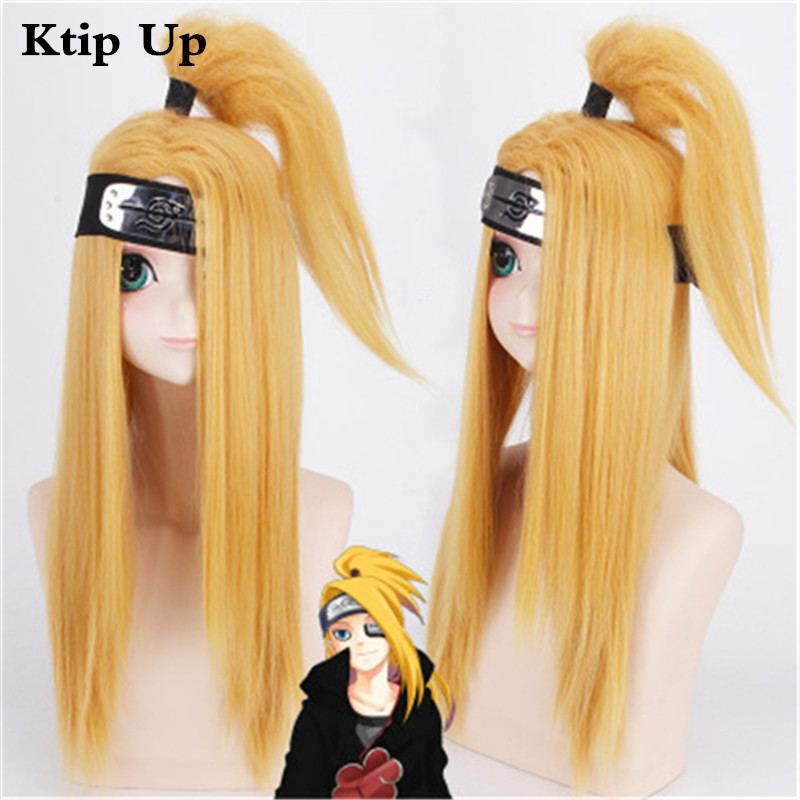 Anime Wigs Naruto Akactuki Deidara Cosplay Wig Long Blond Synthetic Hair Halloween Party Costume Wig For Adult Men Women