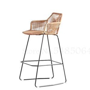 Rattan Chair High Bar Tables And Chairs Outdoor Bar Tables And Chairs Bar Counter Front Stool Rattan High Chair Leisure Balcony(China)
