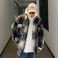 YUECHEN Autumn New Youth Mens Casual  Streetwear Mosaic Plaid Pocket Contrast Color Loose Single-breasted Lapel Jacket