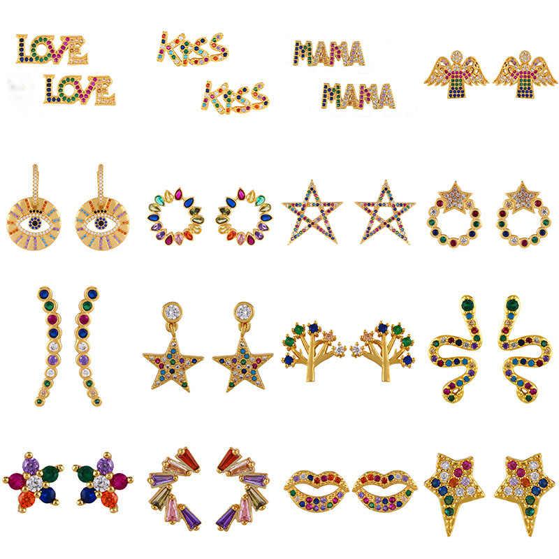 Stud Ohrringe für Frauen Bösen blick Blatt Baum Stern Geometrische Buchstaben Engel Flügel Regenbogen Schmuck CZ Ohrring Gold Farbe Alphabet