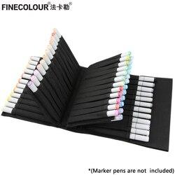 FINECOLOUR 마커 펜 케이스 Art Marker Fineliner 용 대형 지퍼 백 휴대용 Convinient Pencil Case Art Supplies