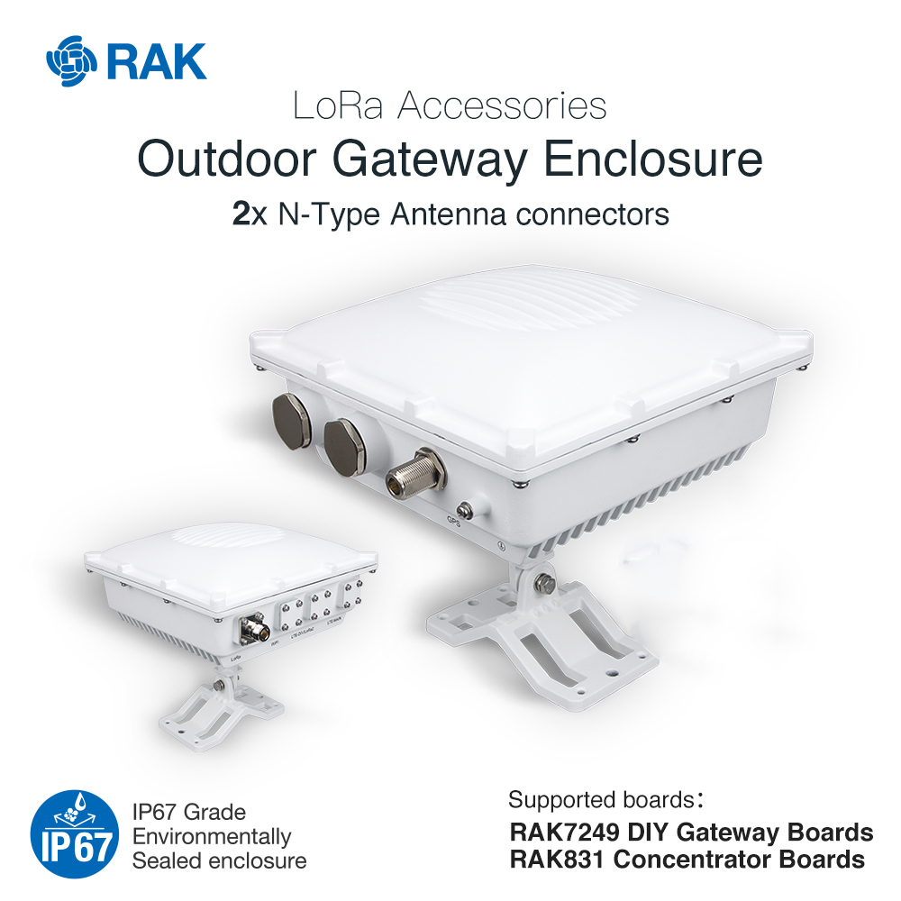 Outdoor Gateway Enclosure Support RAK7249 DIY Gateway RAK831 Concentrator Board LoRa Accessories IP67 Die-Cast Aluminum Q007