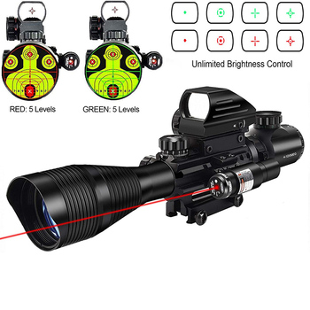 Hunting 4-12x50 EG Illuminated Riflescope & 4 Reticle Holographic Red Green Dot Sight Laser Sight Tactical Rifle Scope 20mm Rail 4 12x50eg tactical rifle scope with holographic 4 reticle sight