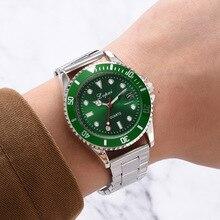 New Men Wristwatch Luxury Green Dial Military Quartz Watch Top Fashion Calendar 3Bar Waterproof Silver Steel Clock For Male 2019 daybird 3793 fashion big dial men s quartz watch w simple calendar silver apricot 1 x lr626
