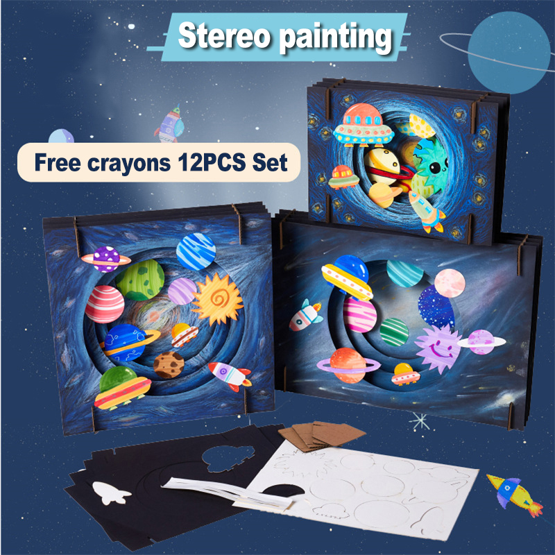 Space Drawing Toys Set Painting Children's Toys Kindergarten Diy Learning Education Crafts Kids Toys For Girls Toys For Children
