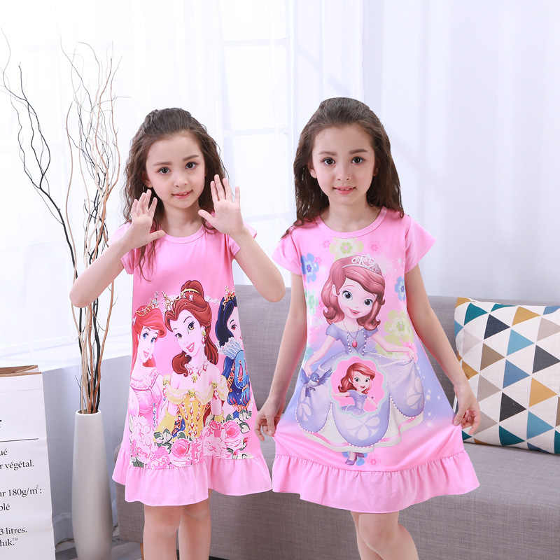 Anna Elsa Dress Girls Nightdress Clothes Summer Cartoon Nightgown Children Clothing Short Sleeved Pajamas Dress Kids Homewear