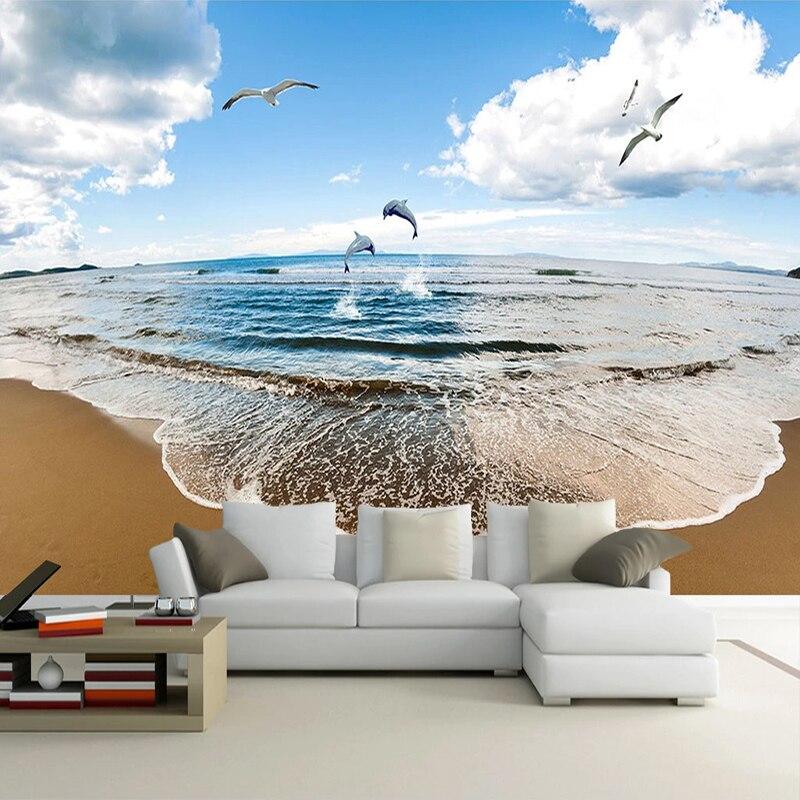Custom Mural Papel De Parede 3D Blue Sky White Clouds Seaside Landscape Sandy Beach Photo Background Wall Painting Living Room