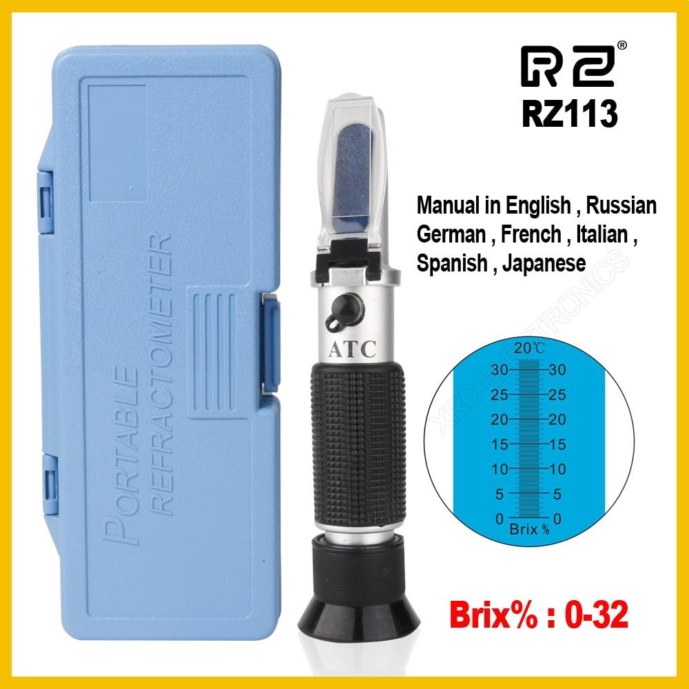 RZ Genuine Retail Package Brix Refractometer 0~32% RHB-32ATC  Optical Sugar Food Beverages ATC Content RZ113 Meter Tool Handheld