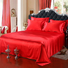 Luxury Satin Flat Sheet Bed Adult Solid Mattress Protector Silky Queen King Double Bed Sheets Black