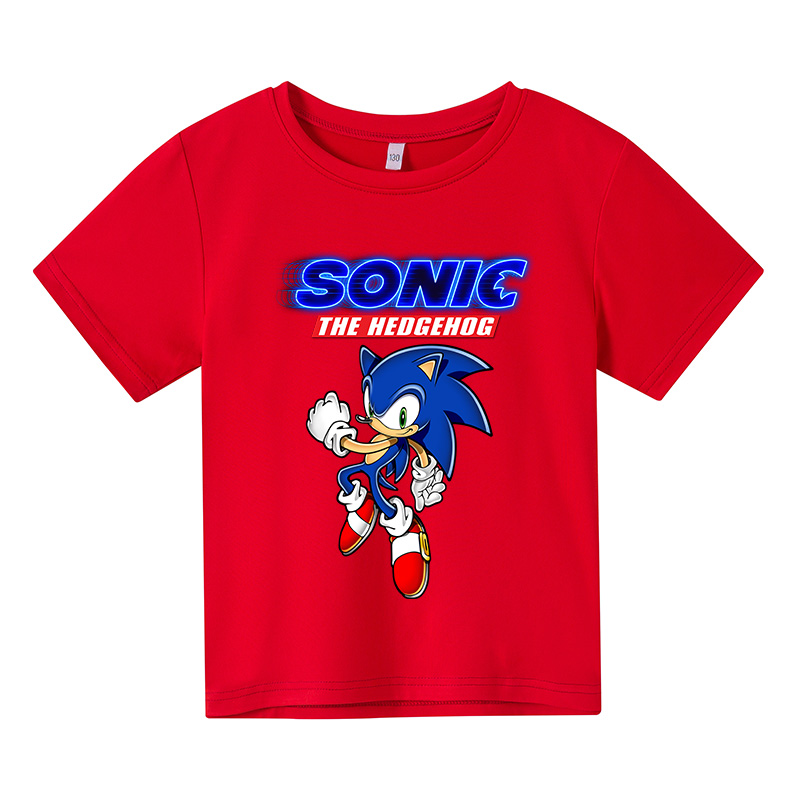 Summer Children's Cartoon Anime Sonic Kids Cotton t-shirt Short Sleeve Boys Girls Fun Tops Baby Clothes 4T-14T