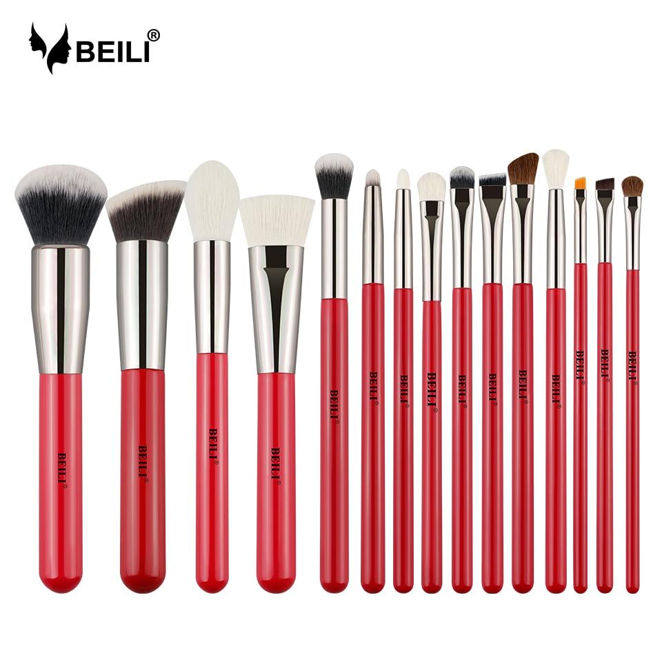 BEILI 15pcs Makeup Brushes Eyeshadow Powder Cosmetics Make Up Brush Set Natural Hair Eyebrow Professional Foundation Red HandleEye Shadow Applicator   -