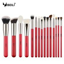 BEILI 15pcs แปรงแต่งหน้าอายแชโดว์เครื่องสำอางค์แต่งหน้าชุดแปรงผมธรรมชาติ Eyebrow Professional Foundation จับสีแดง