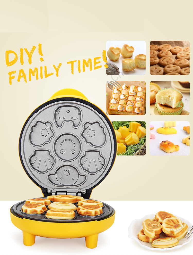 Children Mini Cartoon Waffle Maker Cake Machine With Double Sided Heating To Making Breakfast 4