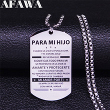 PAPA MI HIJO Palabras de aliento Stainless Steel Chain Necklace Son/Boy Silver Color Statement Necklace Jewelry joyas N111S01 2019 family stainless steel necklace women jewlery silver color dad mum and son statement necklace jewelry gargantilla n18018