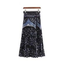 2019 New Pleated Skirt Women Retro Print Ankle Length Adjustable Black Skirt Elegant Waist Wrap Casual Long Skirts for Women adjustable strap pleated pinafore skirt