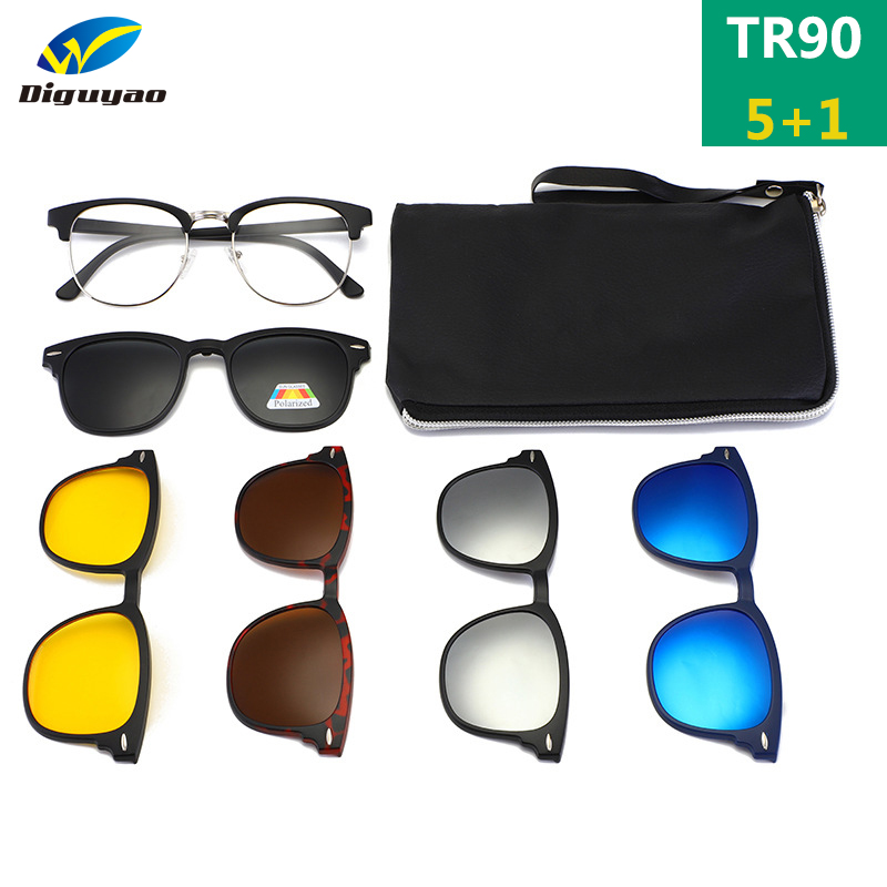 TR90 <font><b>Clip</b></font> <font><b>On</b></font> <font><b>Sunglasses</b></font> <font><b>men</b></font> <font><b>Magnetic</b></font> <font><b>clip</b></font> <font><b>Sunglasses</b></font> women Magnet <font><b>Clip</b></font> Optical Prescription Myopia glasses Frame with <font><b>5</b></font> lens image